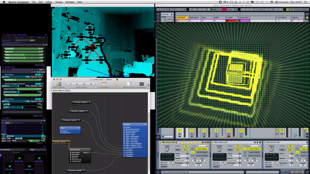 Quartz Composer, Ableton Live and Synapse Kinect Controlling 3D Geometry and Sou
